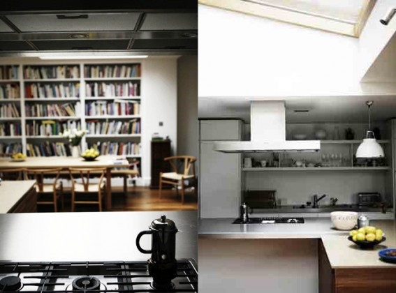 Diana Henry Kitchen with coffee pot and cooker hood.