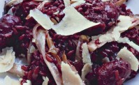 sausage,-radicchio-and-red-wine-risotto with shavings of parmesan on top
