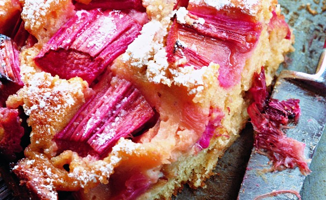 rhubarb cake and knife