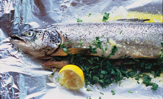 baked salmon with parsley and lemon on tin foil