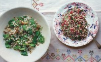 Barley, parsley & pomegranate salad and barley, chill and roast squash salad on embroidered pink blue and yellow table cloth