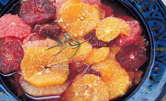 Citrus-fruit-&-rosemary-compote on blue Moroccan bowl