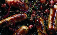 sausages, thyme grapes