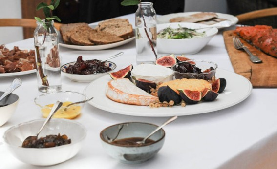 Lunche spread with white table cloth.