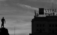 Black and white skyline of Madrid.