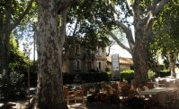 Bistro du Paradou outside trees and old building.