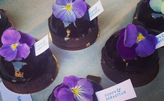 chocolate pastries with violets on top. Poppy & Sebastian