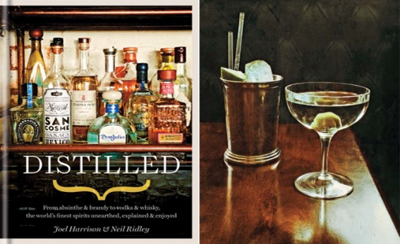 Distilled book cover and inside martini pic