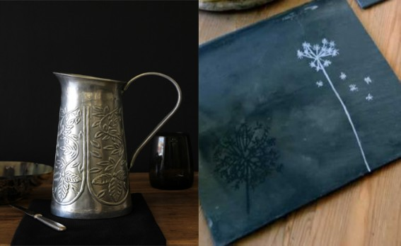 metal jug and slate dandlion mats